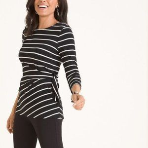 Chico's Striped Side Tie Stretch Knit Tunic Top M